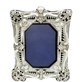 Antique Victorian Sterling Silver 8″ Photo Frame 1898
