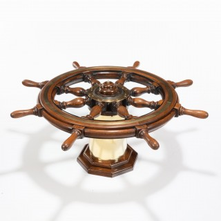 A late Victorian teak steering wheel