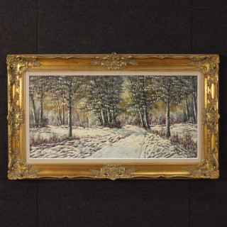 20th Century Oil On Canvas Dutch Snowy Landscape Impressionist Style Painting, 1960