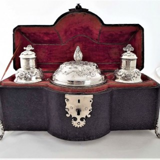 Fine shagreen cased armorial George II silver tea caddies London 1749 Samuel Taylor