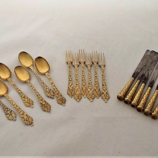 Very rare set 18 William & Mary silver gilt sweetmeat/dessert set C1690