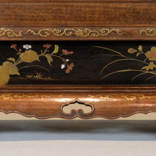 EXQUISITE JAPANESE SHIBAYAMA LACQUER & SILVER MOUNTED TSUITATE -TABLE SCREEN