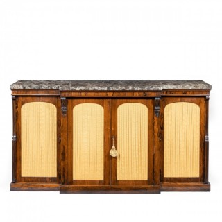 A William IV rosewood breakfront side cabinet