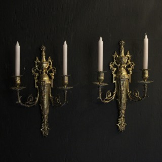 French Pair Of Candle Antique Wall Sconces