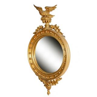 Regency Style Gilt Wood Convex Mirror