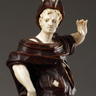 South German Baroque Large Carved Walnut and Ivory Figure of David with the Head of Goliath