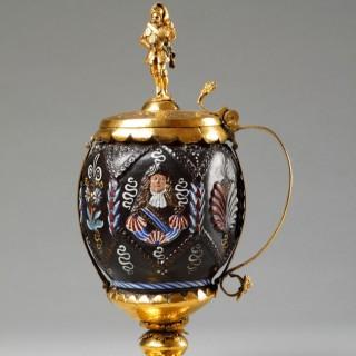 German Bavarian Kreussen Enamelled Stoneware Portrait Marriage Standing Cup