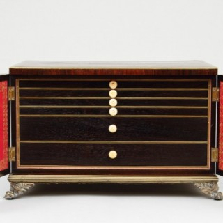 English Regency Brass Bound Rosewood Two Door Table Cabinet
