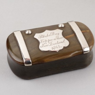 Sheep's Horn and Silver Mounted Pocket Snuff Box