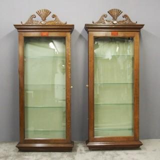 Pair of Oak Bespoke Made Fan Display Cabinets