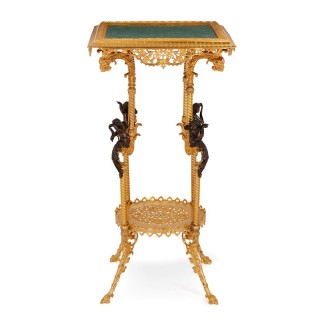 Malachite, gilt and patinated bronze side table