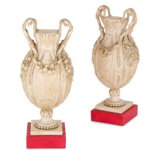 Two small antique Dieppe ivory vases