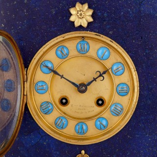 Neoclassical style gilt bronze, enamel and lapis lazuli mantel clock