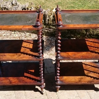 Very Fine Quality And Rare Pair Of Walnut Whatnots
