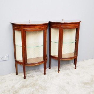 Pair of Sheraton Style Demi-Lune Display Cabinets