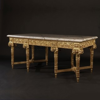 A Magnificent Carved Giltwood Centre Table With a Marble Top