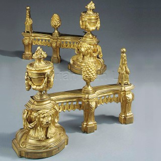 A Pair of Louis XVI Style Gilt-Bronze Chenets