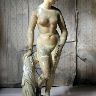 A Mid 19thC Plaster Figure; 'The Greek Slave'; After Hiram Powers c.1844-70