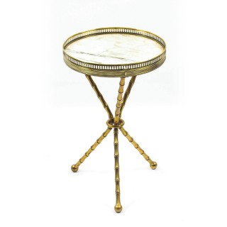 Antique French Ormolu Occasional Table Carrara marble Top 19th C