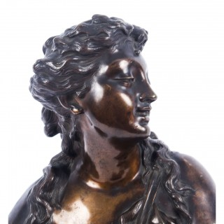 Antique Pair Bronze Busts Jean Baptiste Lebroc Bacchante and a Satyr 19th C