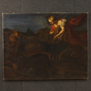 18th Century Oil On Canvas Italian Religious Apparition of Angel with Violin Painting, 1780