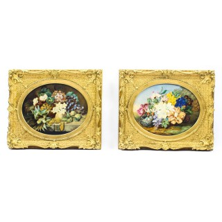 Antique Pair of Still Life Flowers by Anna Downing 19th Century