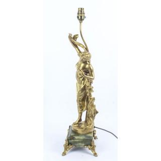 Antique Art Nouveau Gilded Dancing Lady Lamp c.1910