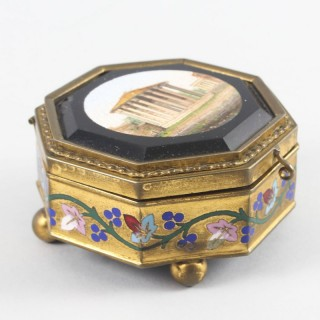 Antique Grand Tour Italian Micromosaic Octagonal Ormolu Casket 19th C