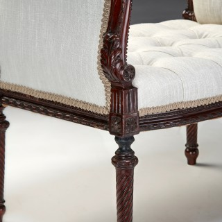 Finely Carved 19th Century Mahogany Scroll End Window Seat
