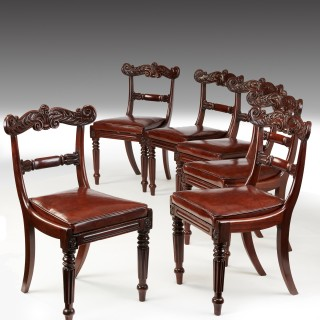 Set of Six William IV Mahogany and Leather Dining Chairs