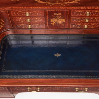Exhibition Quality Maple & Co Mahogany, Satinwood and Marquetry Inlaid Victorian Carlton House Desk