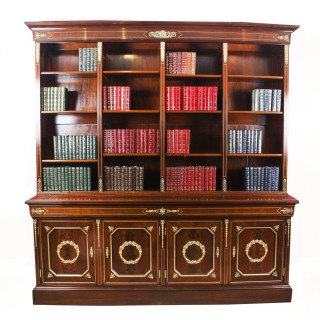 Antique French Napoleon III Empire Mahogany Bookcase Cabinet c.1870
