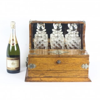 Antique English Victorian Oak Three Crystal Decanter Tantalus C1870