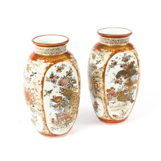 Antique Pair Japanese Kutani Porcelain Vases C1880