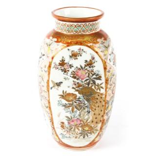 Antique Pair Japanese Kutani Porcelain Vases C1880