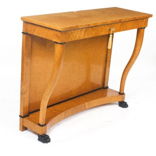 Antique Biedermeier Maserbirch Console Table Circa 1900