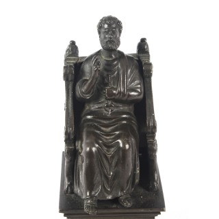 Antique Italian Grand Tour Patinated Bronze Sculpture of St Peter 19th Century