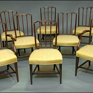 Set eight Hepplewhite period dining chairs