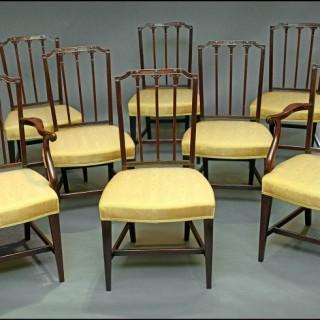 Set eight Hepplewhite period dining chairs