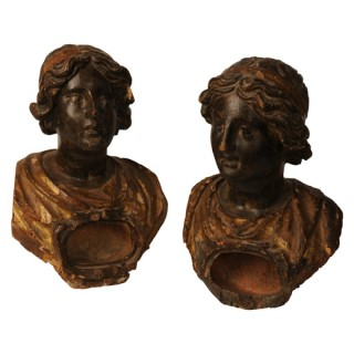 Two polychromed and gilded reliquary busts after the antique, Italian 17th century