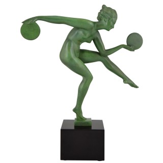 Art Deco sculpture nude disc dancer