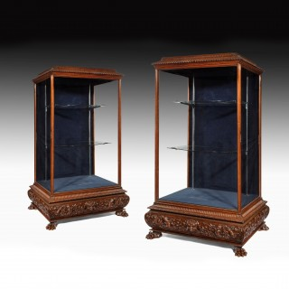Pair of Large 7Ft High 19th Century Trophy Display Cabinets.