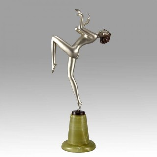 "Art Deco Bronze figure entitled  ""Leant Back"" by Josef Lorenzl"