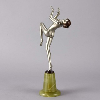 "Art Deco Bronze figure entitled  ""Leant Back"" by Josef Lorenzl"