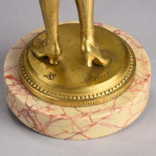 Art Deco Gilt bronze figure entitled 'Femme avec Perroquet' by Hans Keck