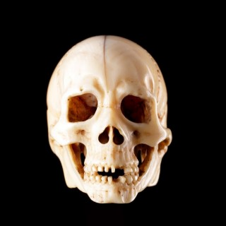 Finely Carved Japanese Ivory Skull