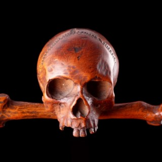 German 'Memento Mori' Carved Boxwood Model of a Skull
