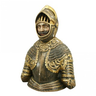 Carved Wood Bust Of A Knight