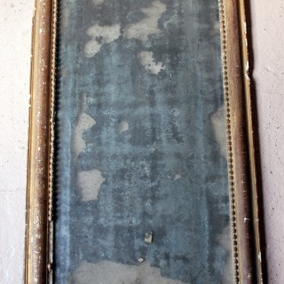 A Distressed George III Period Rectangular Gilded Gesso Wall Mirror c.1800