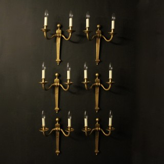 French Set Of 6 Twin Arm Antique Wall Lights